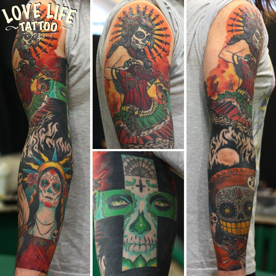 татуировка на мексиканскую тему