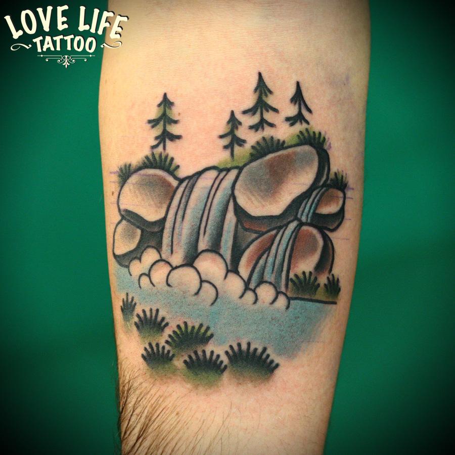 татуировка водопада