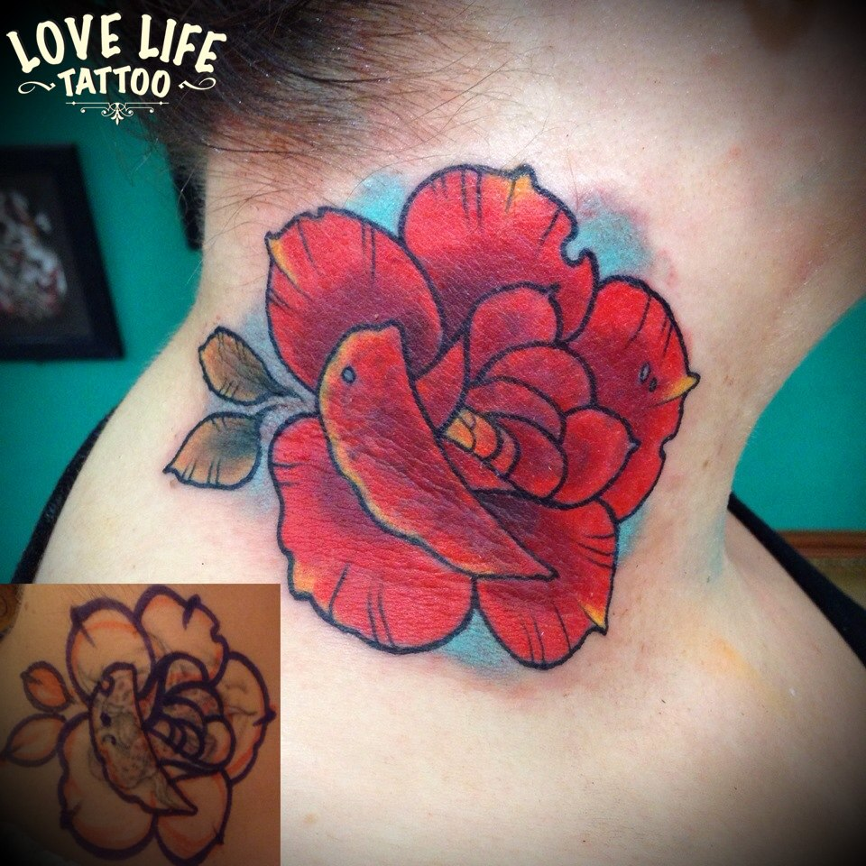 татуировка цветка, перекрытие