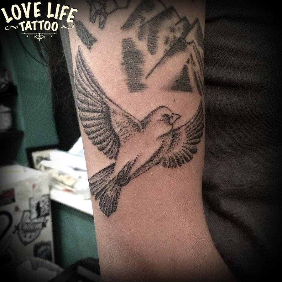 татуировка птицы