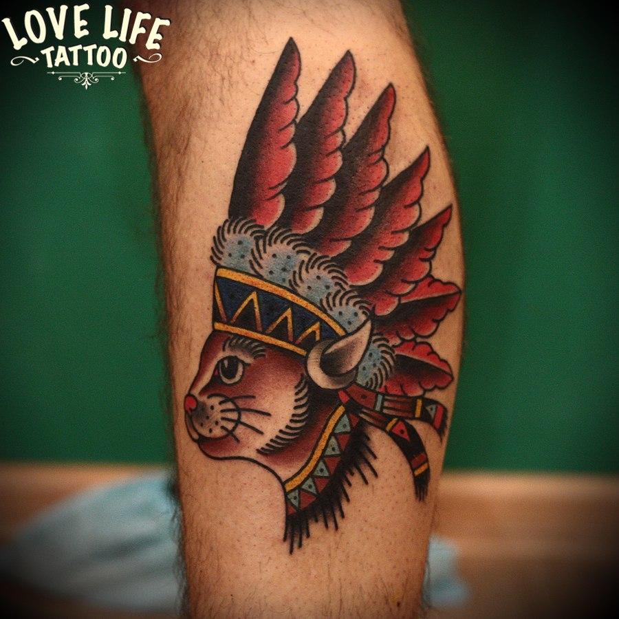 татуировка кота-индейца