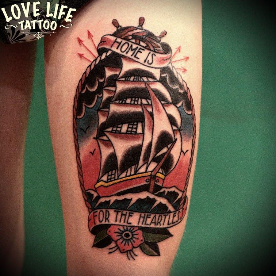татуировка корабля
