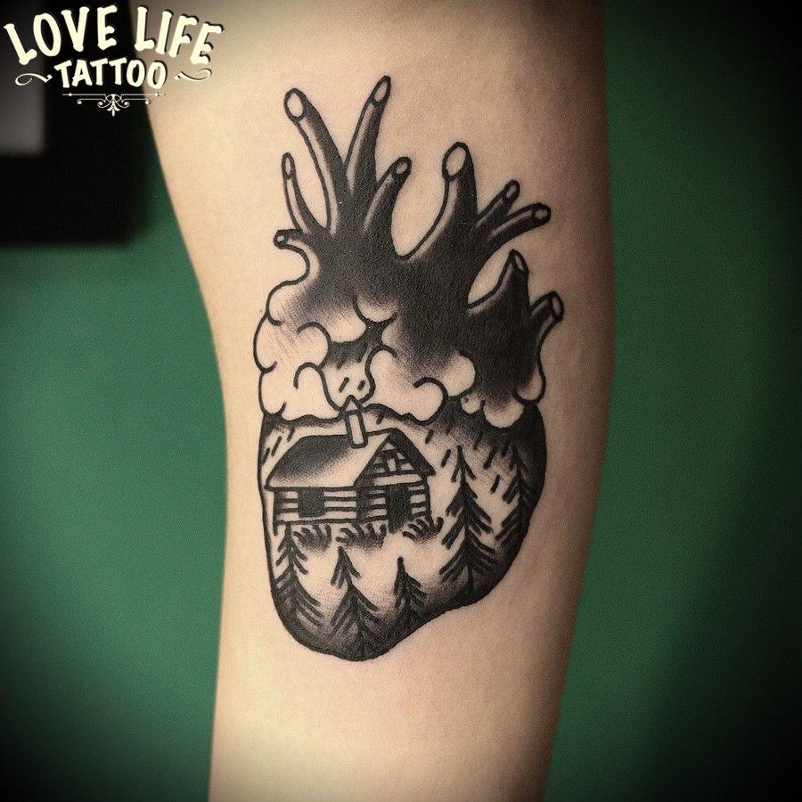 татуировка дома в сердце