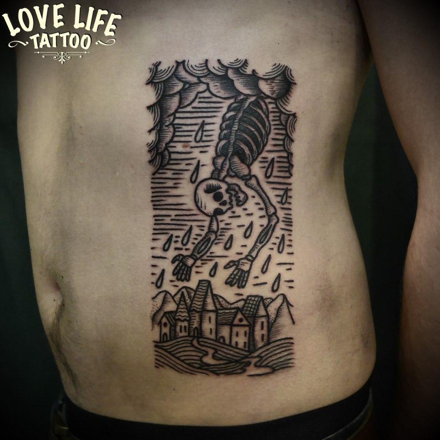 татуировка скелета