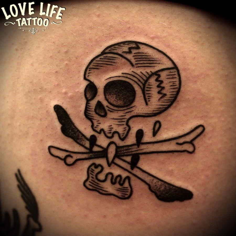 татуировка черепа с костями