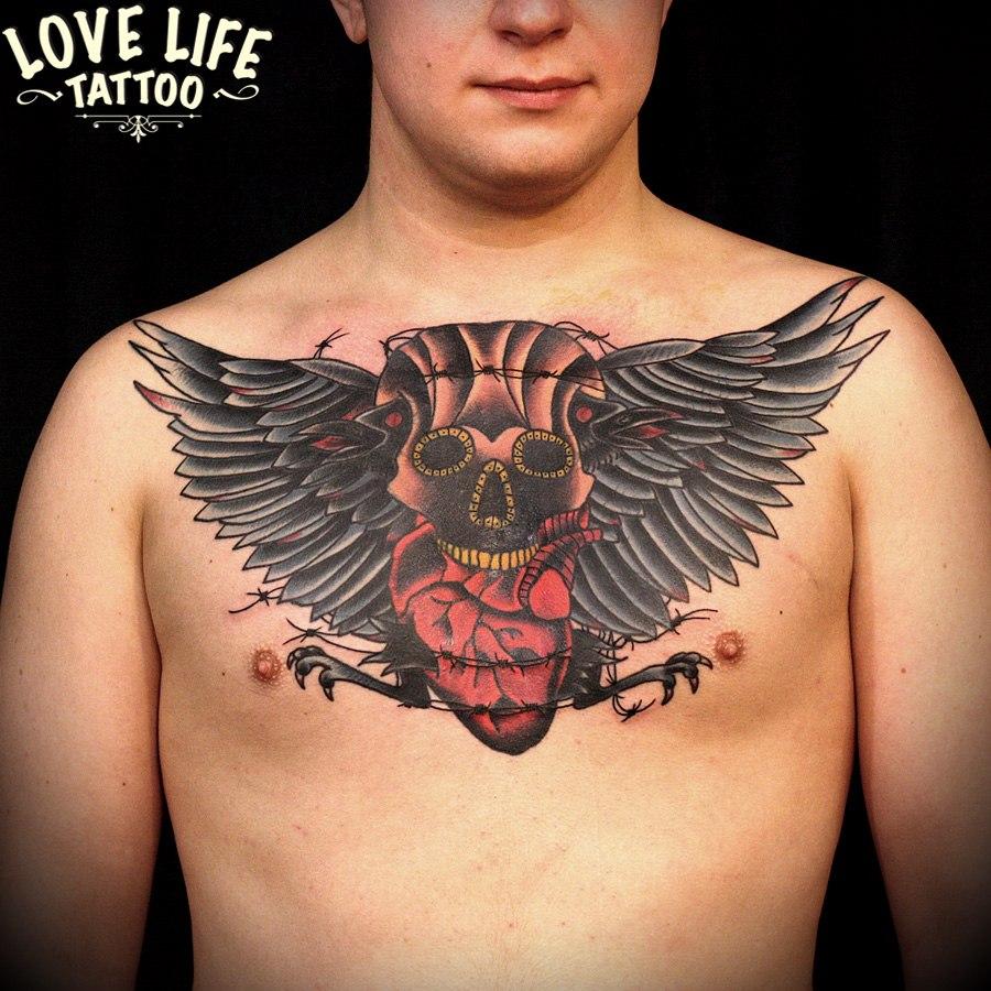 татуировка черепа с сердцем (перекрытие)