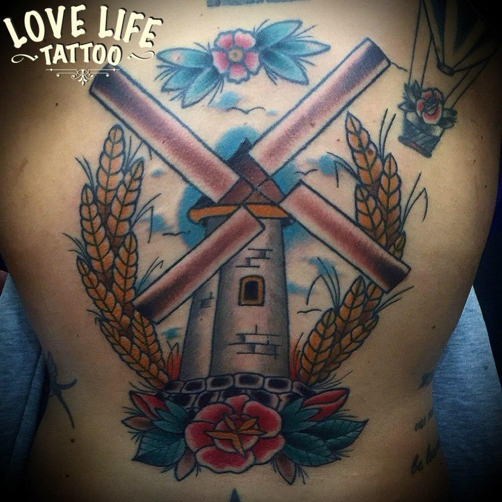 татуировка мельницы