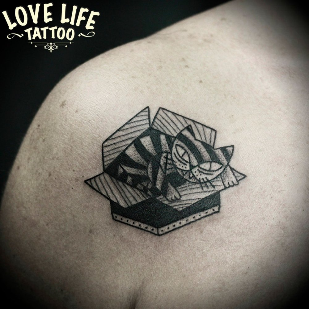 татуировка кота в коробке