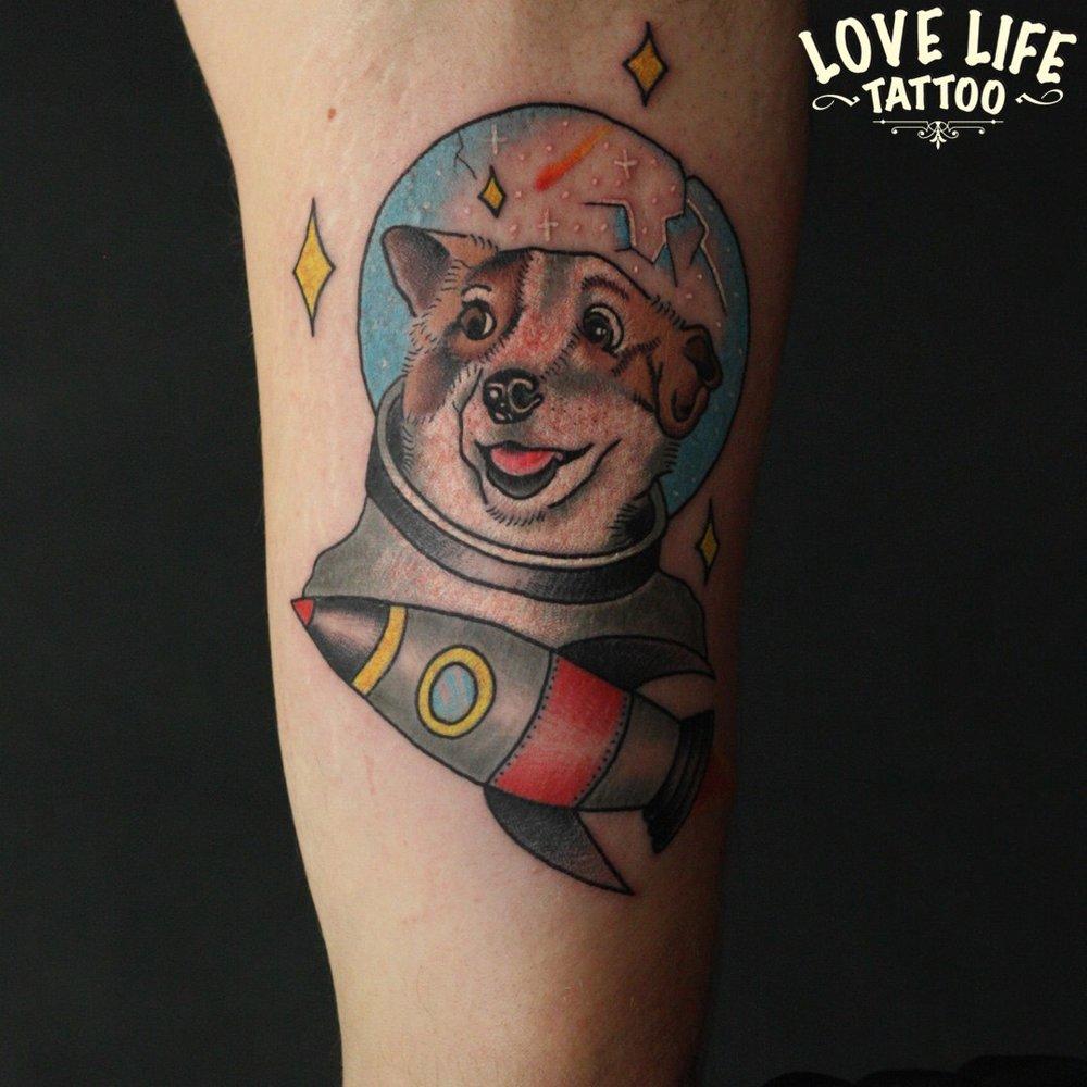 татуировка собака Белка
