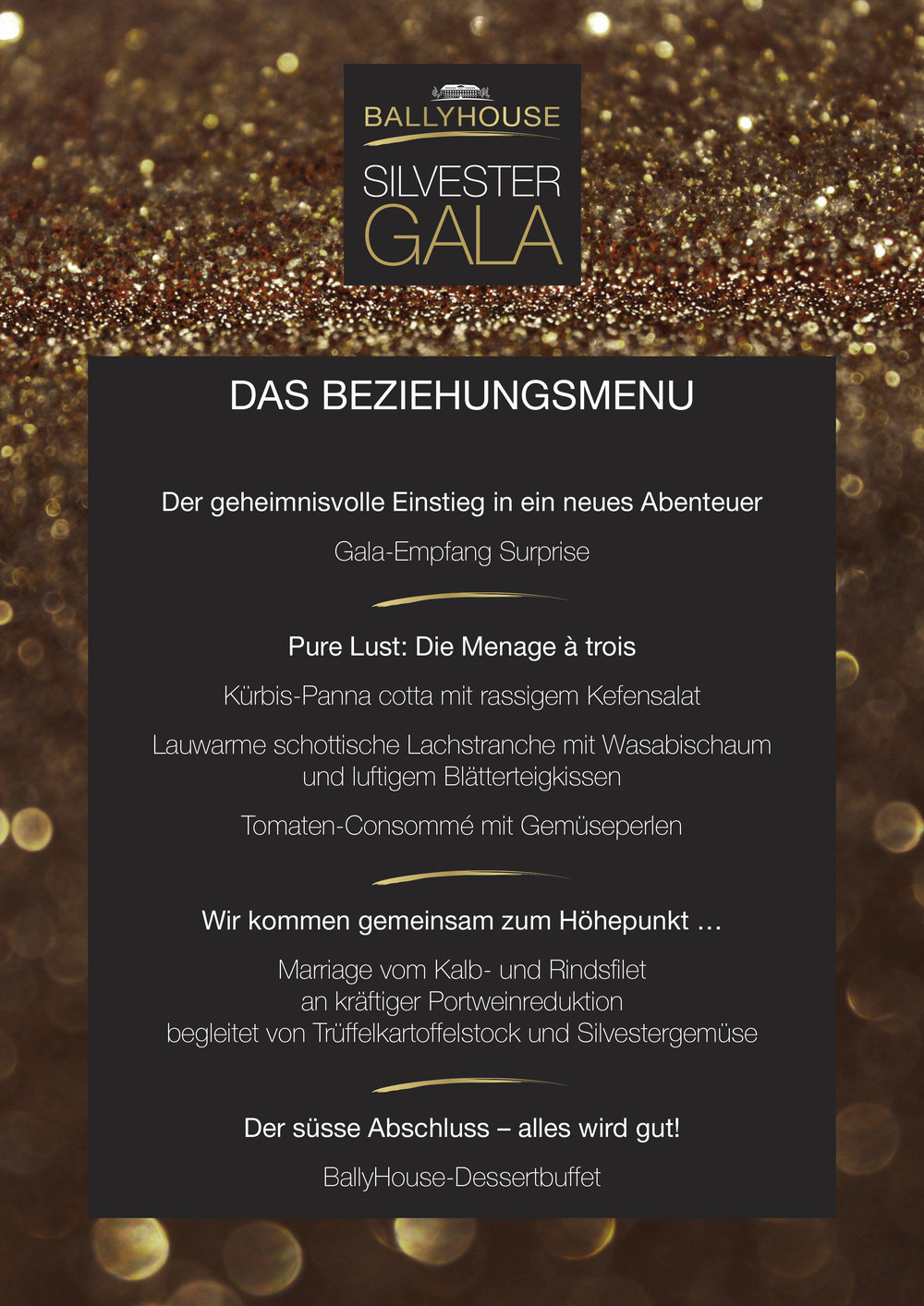 Menu Silvester Gala BallyHouse