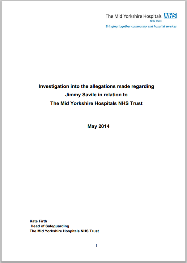Investigation into an allegation against Jimmy Savile within the Mid Yorkshire NHS Trust