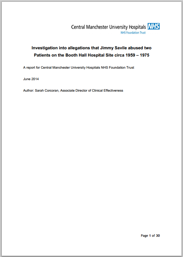 Investigation into allegations against Jimmy Savile at Booth Hall Hospital