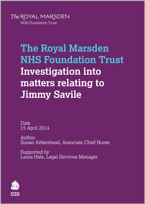 Investigation into allegations against Jimmy Savile at the Royal Marsden NHS Trust