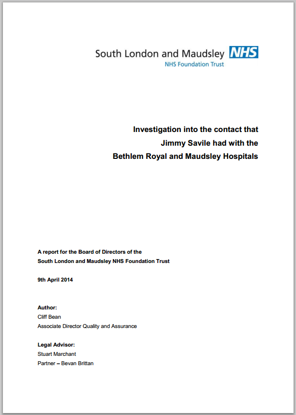 Investigation into allegations against Jimmy Savile at the Bethlem and Maudsley Hospitals
