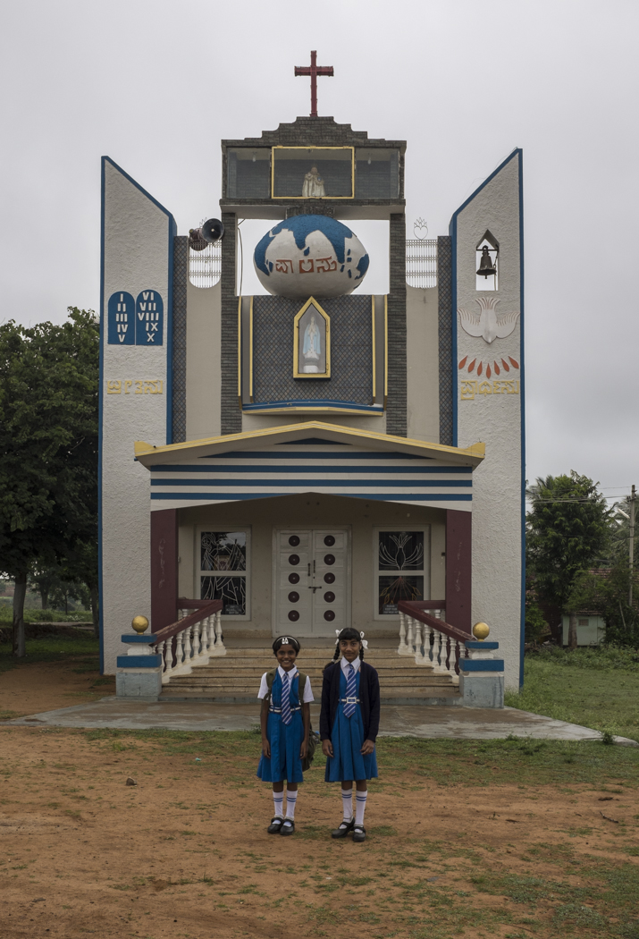 Hunsur school children in front of their church