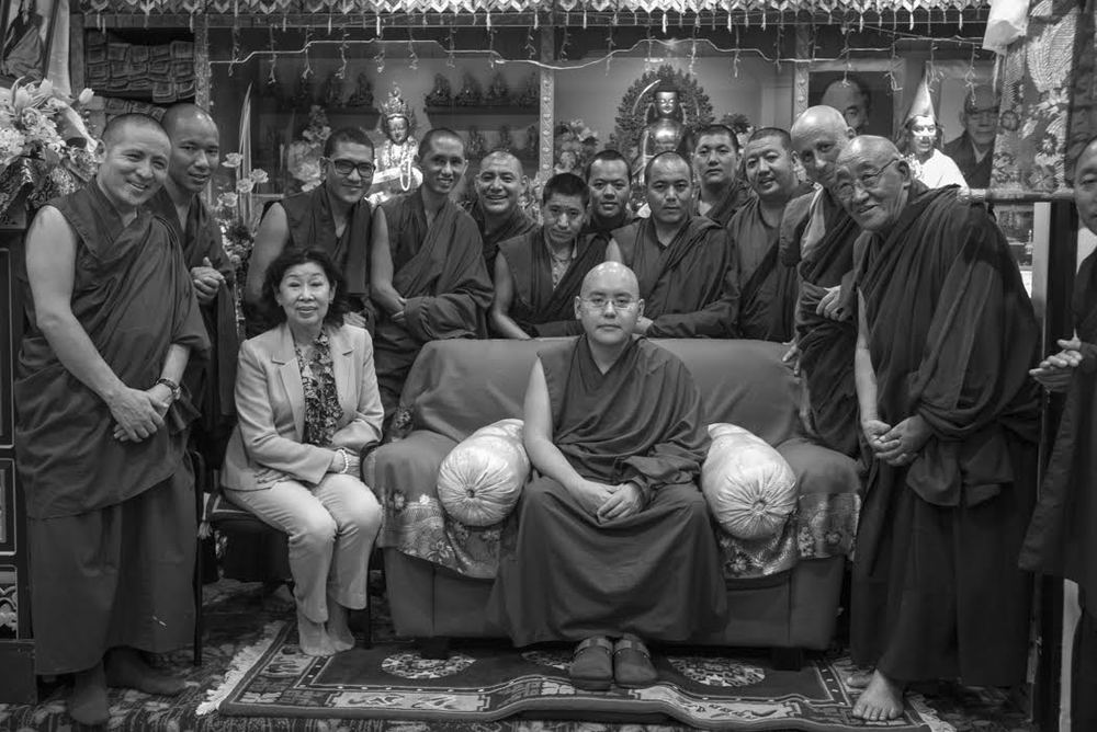 Rinpoche with monks and the wife of the former Prime Minister