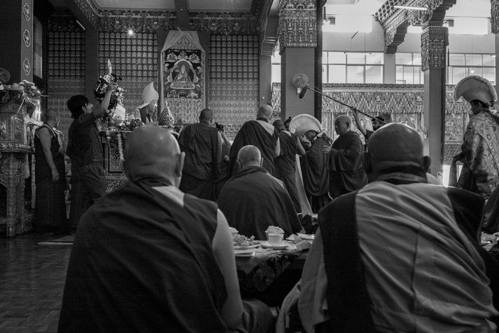 Ling Rinpoche, the reincarnation of His Holiness the Dalai Lama's Senior Tutor, is offered a Long Life Ceremony by the Abbot and monks of Loseling Monastery