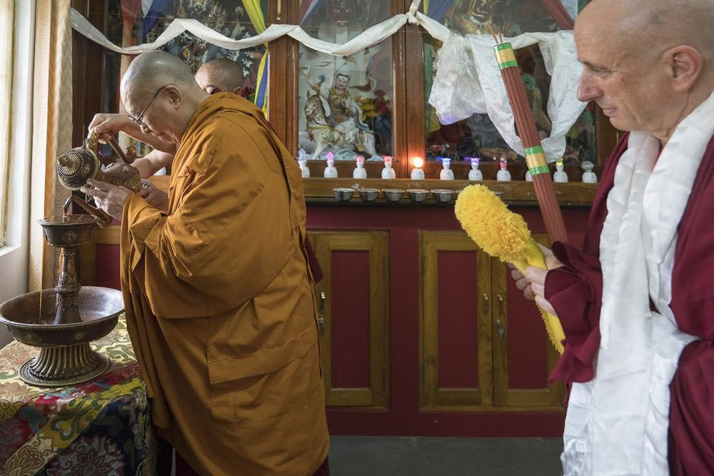 ...and offers tea to our protectors. Photo by Tenzin Choejor—OHHDL