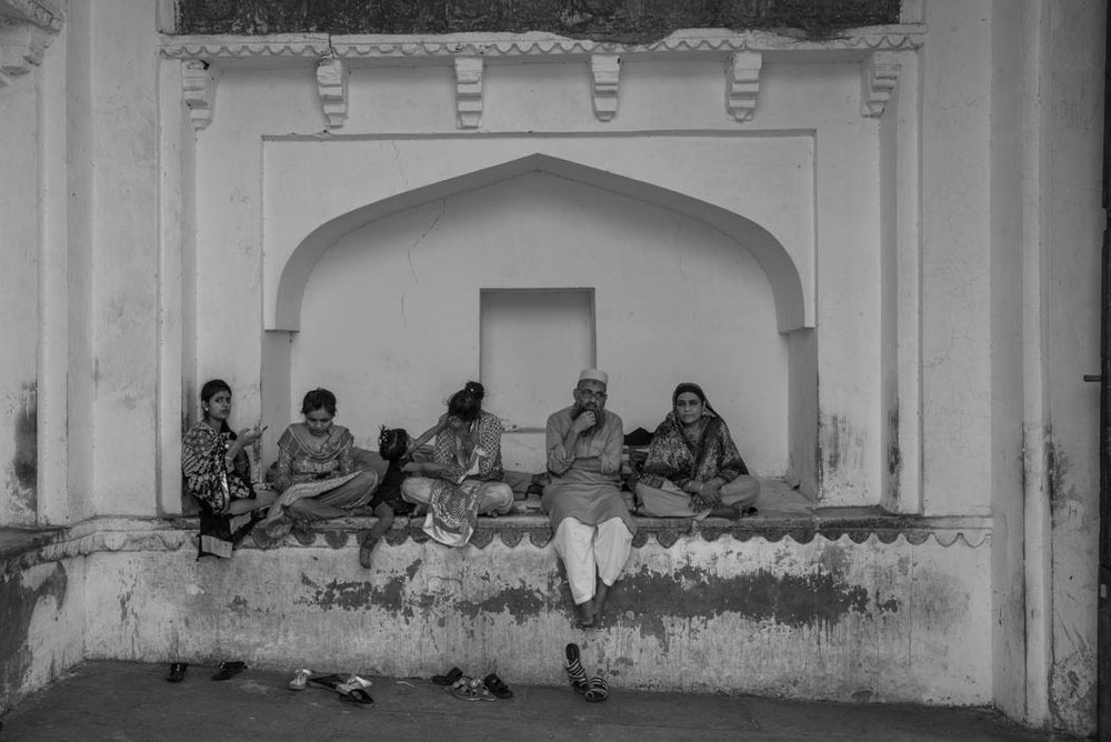 My friends, seated at the entrance to the Amber Fort, agree