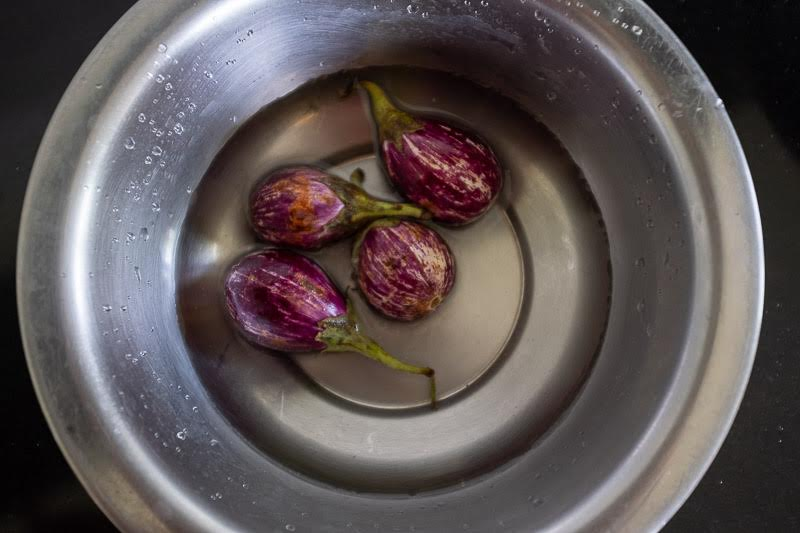 where eggplants soak,