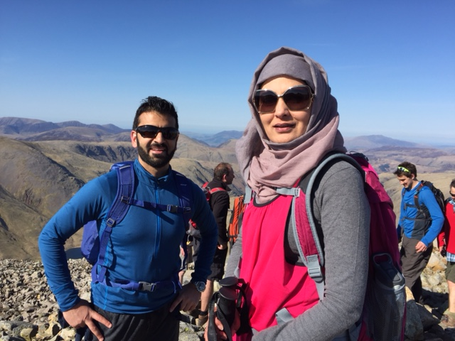 Shokat and Sadia on a break during the Lake District 5 Peaks challenge