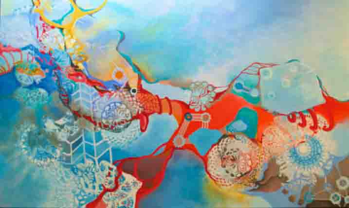 CELL DIVISION & LACE    36 x 60  acrylic canvas on board framed  $4000.00  Currently on display at The Oswego Hotel, Victoria BC
