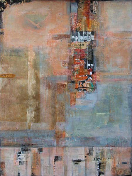 """Spanish Wall""  48"" x 36"" Mixed media with collage by JIll Ehlert"