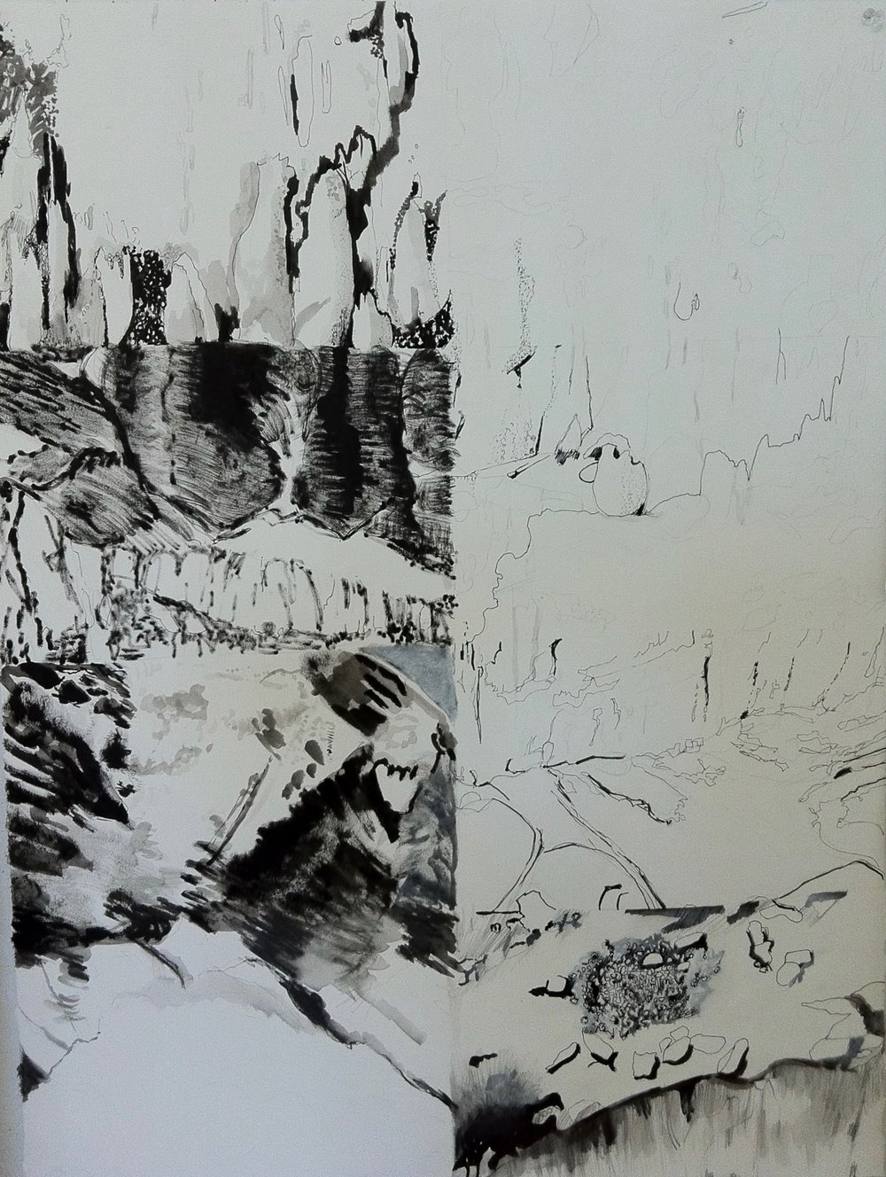Fragmented Landscape Drawing - Jill Ehlert