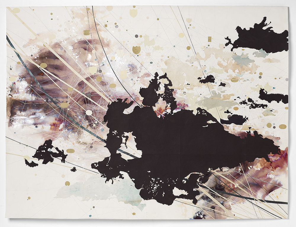 "Val Britton  '""String Theory""  2009   72"" X 96"", Ink, collage, graphite and gouache on paper"
