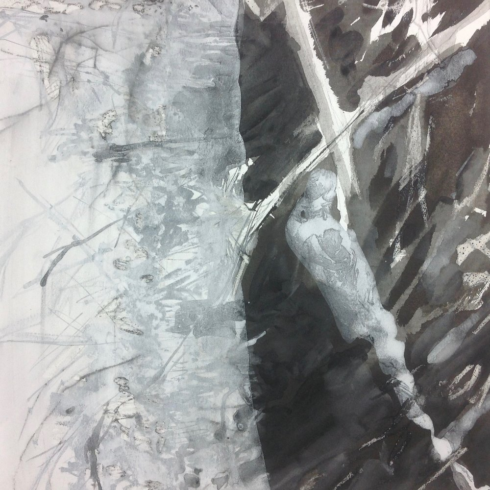 Painting with minerals on top of Sumi-E ink drawing