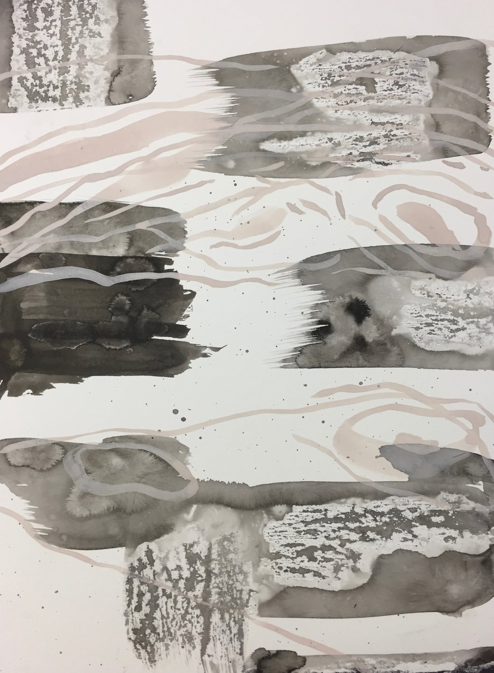 Sumi-E Ink drawing with wax relief