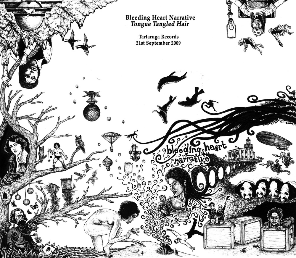 Full wraparound artwork for the Bleeding Heart Narrative album, 'Tongue Tangled Hair' – Tartaruga Records, 2009