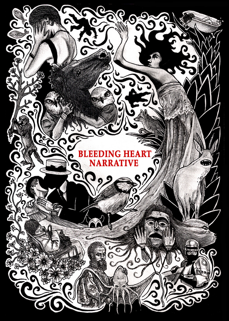 Illustration for a Bleeding Heart Narrative postcard