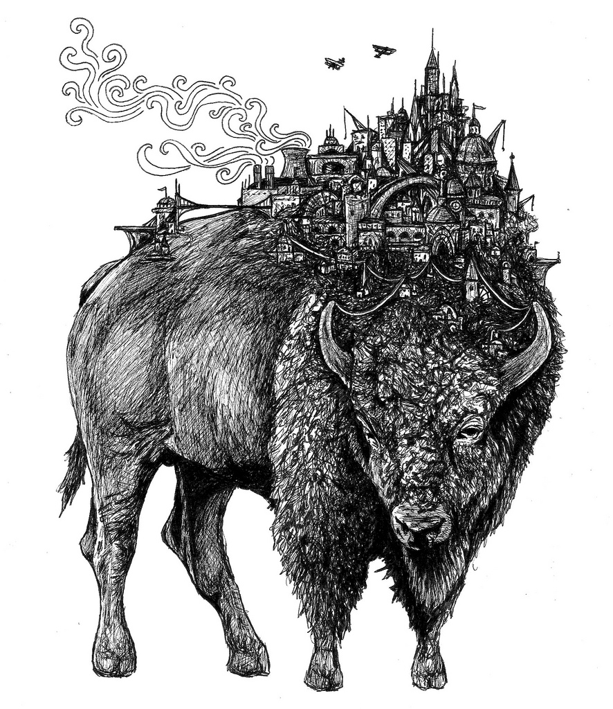 Illustration for the cover artwork for the Bleeding Heart Narrative EP, 'Bison' – Brainlove Records, 2011