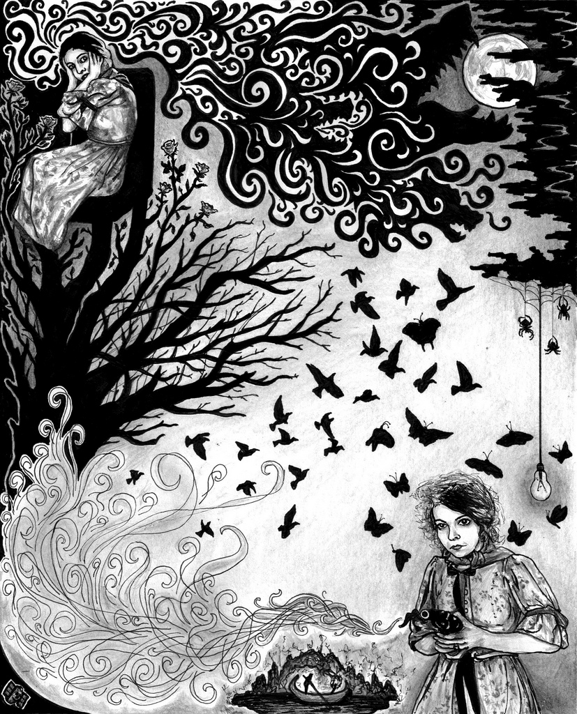 Illustration for the sleeve artwork of the Bleeding Heart Narrative album, 'All That Was Missing We Never Had In The World' – Tartaruga Records, 2008