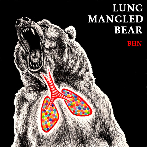 Cover artwork for the Bleeding Heart Narrative remix album, 'Lung Mangled Bear' – Tartaruga Records, 2009
