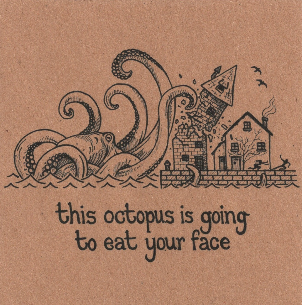 Cover artwork for the Bleeding Heart Narrative EP, 'This Octopus Is Going To Eat Your Face' – self-released, 2008