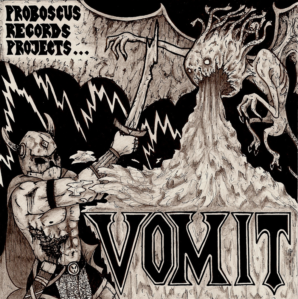 Cover art for Proboscus Records' 'Vomit' compilation album, 2007