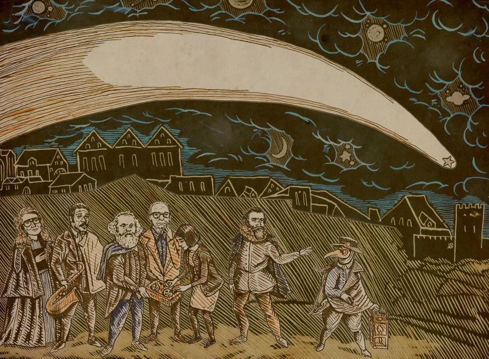 Inner sleeve illustration for 'Mima', based on 'Von Einem Schrecklichen Und Wunderbahrlichen Cometen So Sich Den Dienstag Nach Martini M. D. Lxxvij. Jahrs Am Himmel Erzeiget Hat' by Jiri Daschitzsky