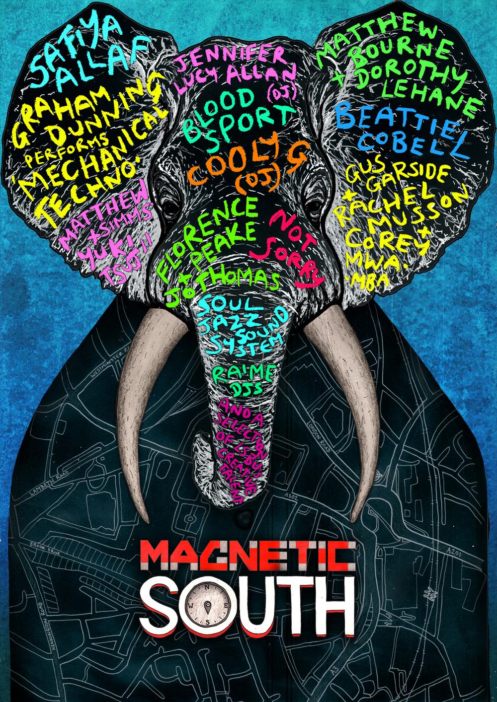 Poster design for Magnetic South Festival. February 2016.
