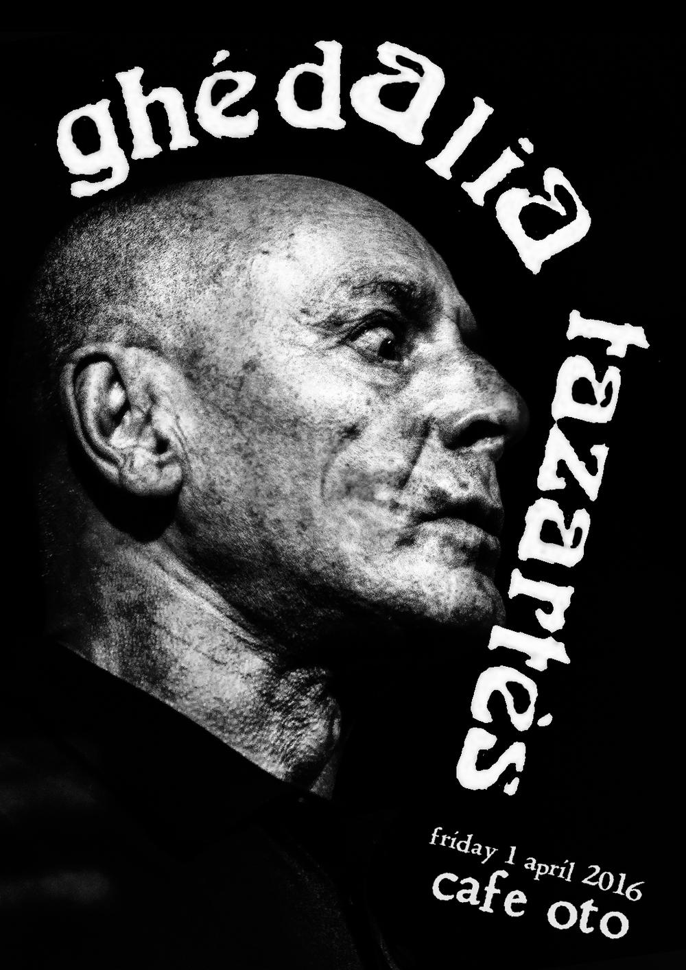 Poster design for Ghédalia Tazartès at Cafe OTO. Photos sourced from Dawid Laskowski.