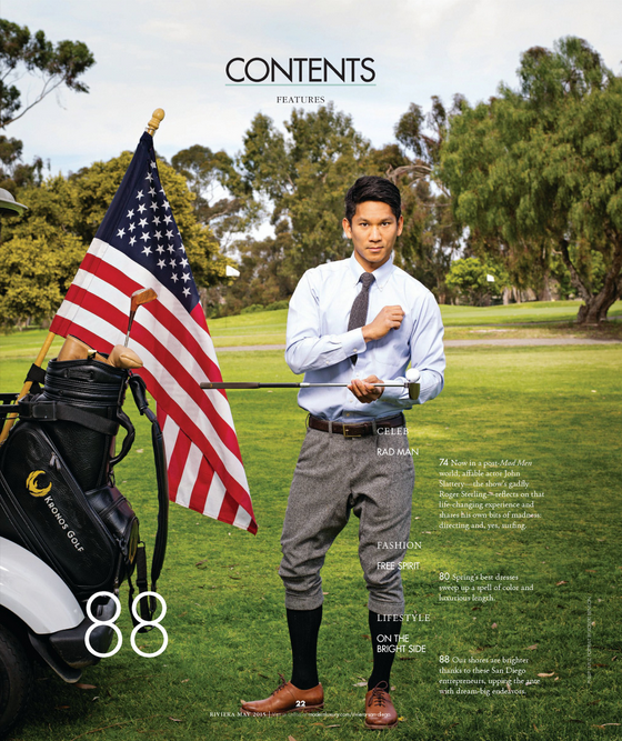 Lifestyle magazine Riviera Magazine features Kronos Golf in table of contents