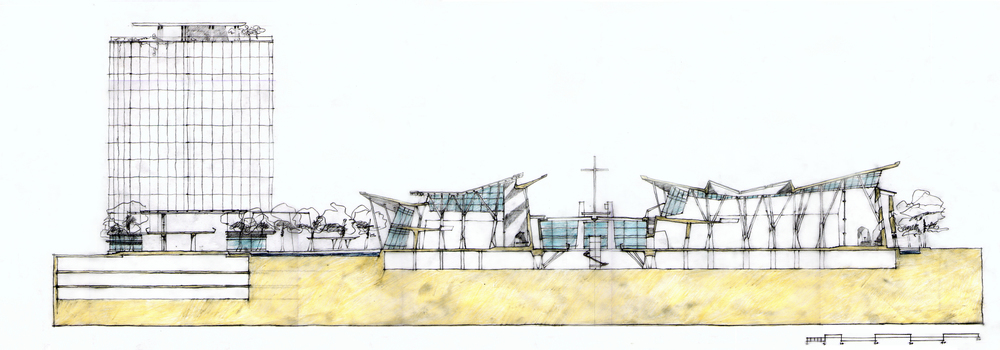 East / West Cross Section Thru Cathedral + Church