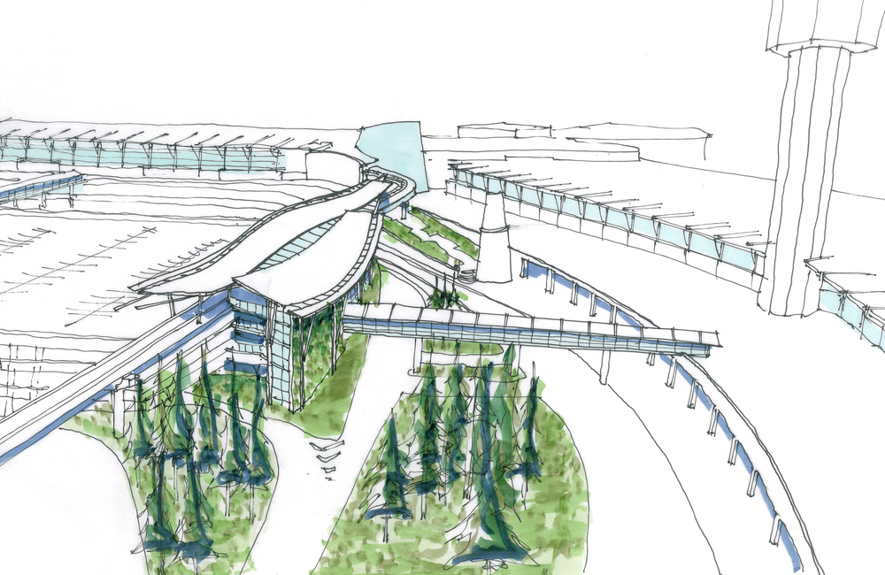 YVR Airport Station Concept Context Sketch View West