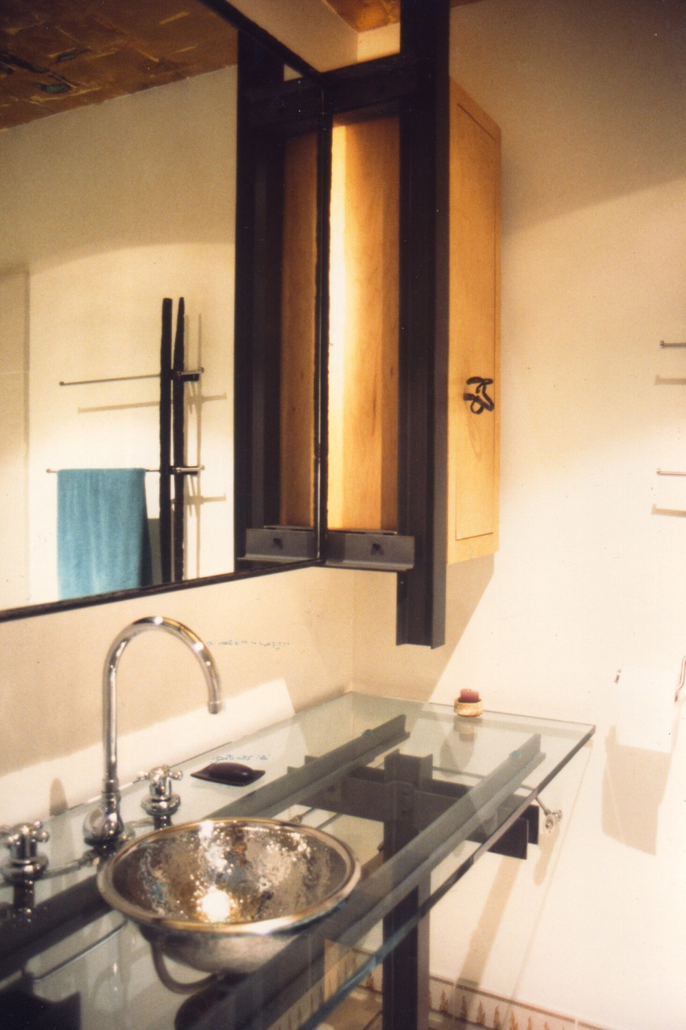 Bathroom Floating Backlit Mirro + Side Cabinet - Custom Towel Rack Seen in Mirror