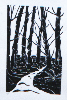 "The Band Lands , Southern Saltspring Island, BC  Artists Proof  Hand Rolled Lino Cut on Pressed Paper  51/2"" x 8""   1998 / 2000"