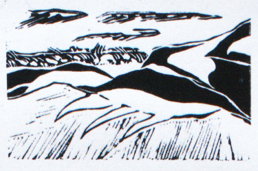"Dunes , Western Australia  Hand Rolled Lino Cut on Pressed Paper  51/2"" x 7"" 1998 / 2000"