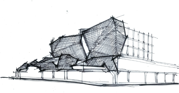 Envelope Concept 4 New Metal Mesh Screen Facade with Curtain Wall Behind as New Skin on Existing Base Building