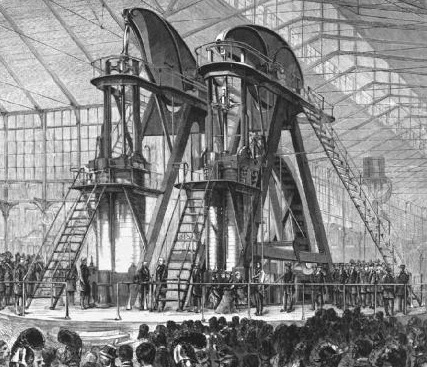 The Corliss steam engine was a symbol of the nineteenth-century belief in progress and industry. The 700-ton (636 metric ton), 1,400-to-1,600-horsepower engine powered all the exhibits at the   Centennial Exhibition   in Philadelphia, Pennsylvania, in 1876.   Library of Congress