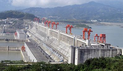 Three Gorges Dam, China, under construction